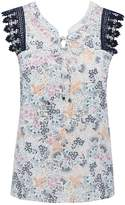 M&Co Petite floral lace sleeve top