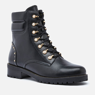 Dune Women's Pearlise Leather Lace Up Boots