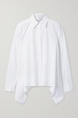 Michael Kors Collection Draped Cotton-blend Poplin Shirt - White