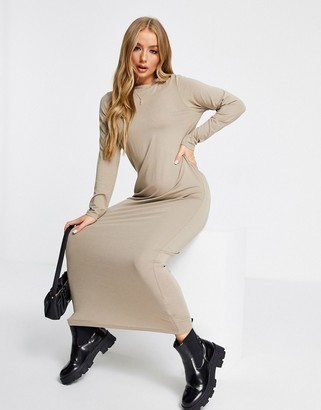 ASOS DESIGN long sleeve maxi T-shirt dress in taupe
