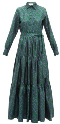 La DoubleJ Bellini Tiered Silk-twill Shirtdress - Womens - Green