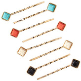 Natasha Accessories Rhinestone Accented Twist Bobby Pin Set - Set of 8
