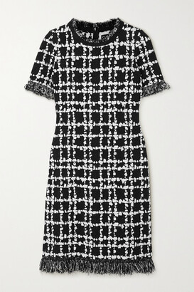 Oscar de la Renta Frayed Jacquard-knit Mini Dress - Black