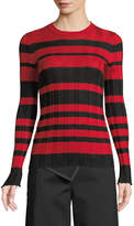 Derek Lam Crewneck Long-Sleeve Striped Ribbed Pullover Sweater