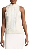 Rebecca Taylor Cable-Knit Sleeveless Sweater with Eyelet Lace, White