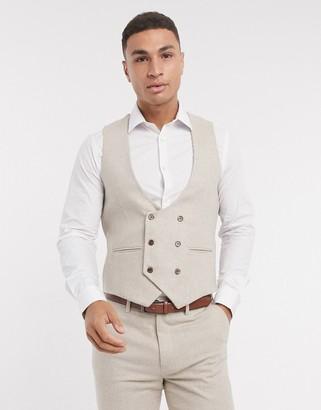 Gianni Feraud slim-fit herringbone wool double breasted scoop vest