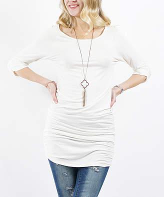 Off-White 42pops 42POPS Women's Tunics  Three-Quarter Sleeve Shirred Tunic - Women