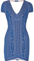 Herve Leger Cutout Jacquard-Knit Mini Dress