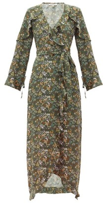 D'Ascoli Leela Floral-print Silk Maxi Dress - Green Print