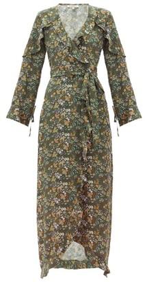 D'Ascoli Leela Floral-print Silk Maxi Dress - Womens - Green Print