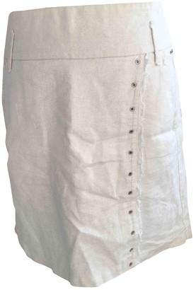 One Step White Linen Skirt for Women