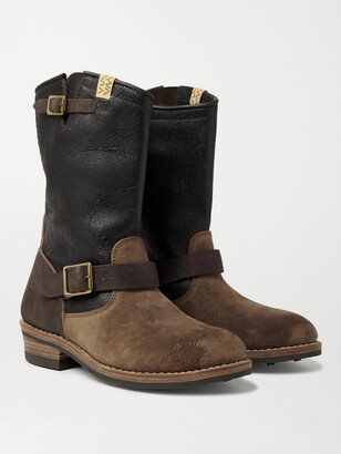 Visvim T.w.o. Distressed Textured Burnished-Leather And Suede Boots