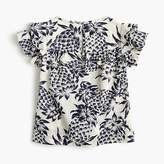 J.Crew Girls' ruffle-trimmed top in pineapple print