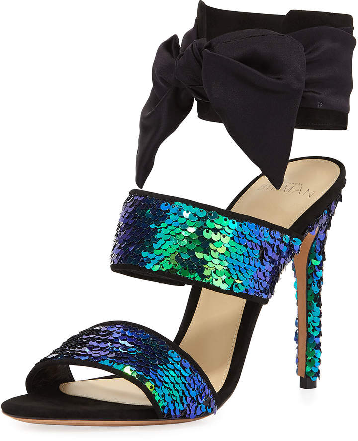 Alexandre Birman Beverlee Sequined Ankle-Cuff Sandal