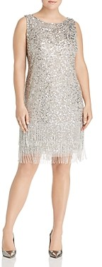Adrianna Papell Plus Beaded Fringe Hem Dress