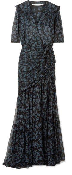Veronica Beard Mick Ruched Silk Crepe De Chine And Chiffon Maxi Dress - Black