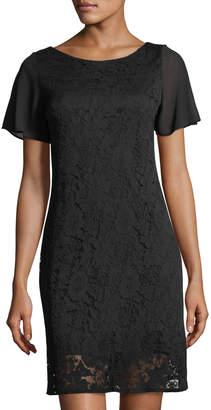 Taylor Textured Lace Chiffon Short-Sleeve Day Dress