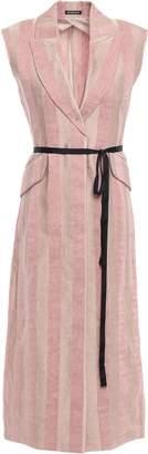 Ann Demeulemeester Belted Striped Wool-gauze Vest