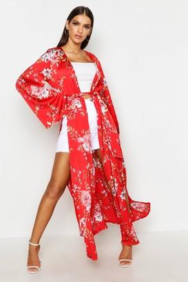 boohoo Side Split Belted Floral Kimono