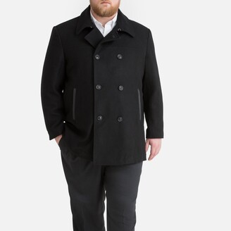 Wool Mix Reefer Jacket with Pockets and Double-Breasted Buttons
