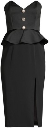 Jay Godfrey Campo Buttoned Peplum High-Slit Midi Dress