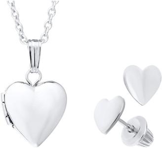 Mignonette Sterling Silver Heart Locket Necklace & Earrings Set