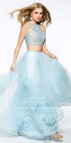 La Femme Tiered Tulle Two Piece A-line Prom Dress