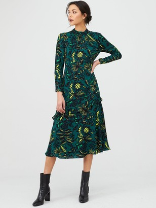 Whistles Assorted Leaves Dress - Green/Multi