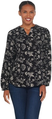 Denim & Co. Stretch Crepe Printed Y-Neck Button Front Shirt
