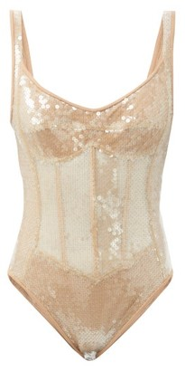 David Koma Sequinned Corset Bodysuit - Beige