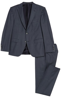 HUGO BOSS Jarrod Blue Pinstripe Two Button Notch Lapel Wool Suit