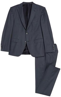 BOSS Jarrod Blue Pinstripe Two Button Notch Lapel Wool Suit
