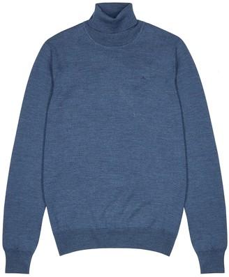 J. Lindeberg Lyd blue roll-neck merino wool jumper