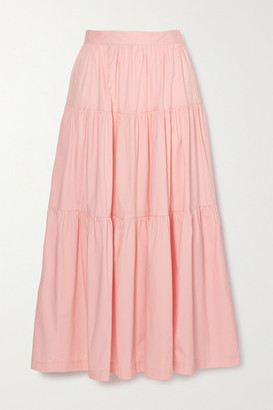 STAUD Sea Tiered Stretch-cotton Poplin Maxi Skirt - Pink