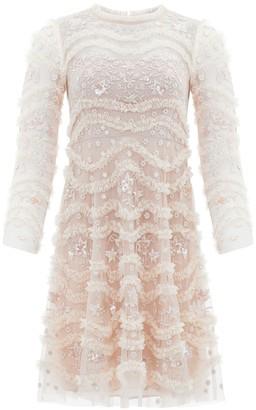 Needle & Thread Ruffle Bloom embroidered tulle dress