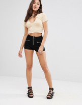 Missguided Vice Zip Denim Shorts