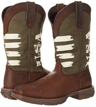 Durango Rebel 12 Army Green USA (Brown/Army Green) Men's Shoes