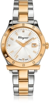 Salvatore Ferragamo 1898 Stainless Steel and Gold IP Women's Bracelet Watch w/Diamonds
