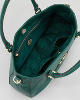 Tory Burch Amanda Double-Handle Hobo Bag, Malachite Gray