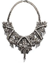 Deepa Gurnani Hand Embroidered Faceted Crystals and Metal Chain Statement Gun Necklace of Length 31 cm