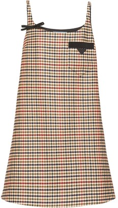 Prada Houndstooth-Pattern Shift Dress