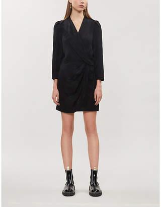 Sandro Jacquard-print V-neck crepe mini dress
