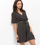 New Look Monochrome Stripe Wrap Front Dress