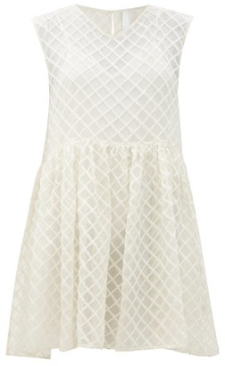 Merlette New York Dawson Grid-embroidered Silk-organza Smock Dress - White