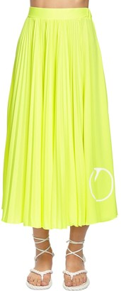 Valentino Pleated Go Logo Midi Skirt