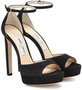 Jimmy Choo Pattie 130 suede plateau sandals