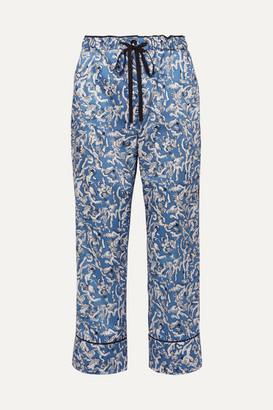 Victoria Victoria Beckham Victoria, Victoria Beckham - Cropped Printed Satin-twill Straight-leg Pants - Blue