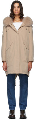 Yves Salomon Army Pink Down and Fur Bachette Coat
