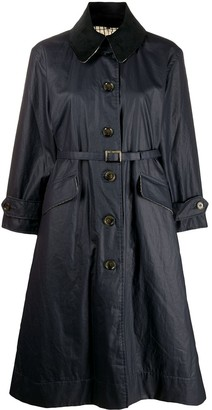 Barbour x Alexa Chung Elfie point-collar belted waxed coat