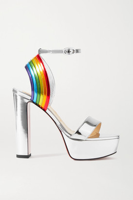 Christian Louboutin Arkendisc Alta 130 Metallic Leather Platform Sandals - Silver